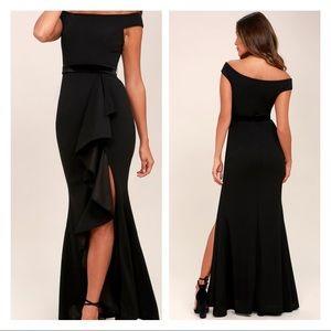Ballroom Bound Black Off-the-Shoulder Maxi Dress